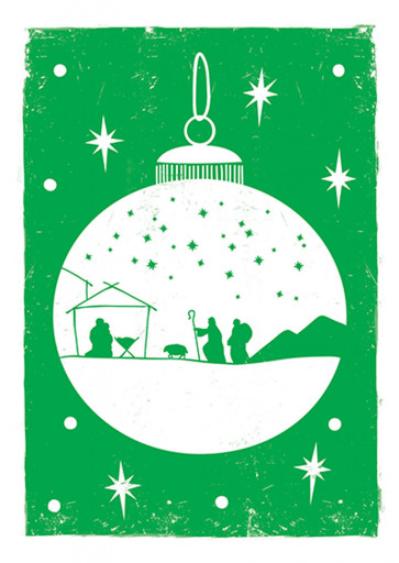 Green Bauble Christmas Cards